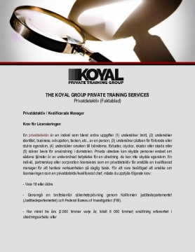 The Koyal Group Private Training Services: Privatdetektiv (Faktablad)