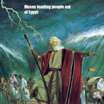 Moses leading people out Egypt