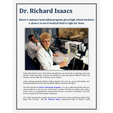 Kaiser's summer internship program - Dr. Richard Isaacs