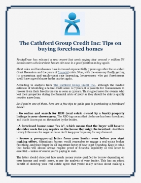The Cathford Group Credit Inc: Tips on buying foreclosed homes