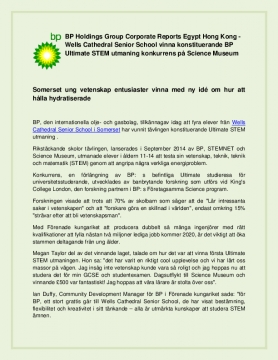BP Holdings Group Corporate Reports Egypt Hong Kong - Wells Cathedral Senior School vinna konstituerande BP Ultimate STEM utmaning konkurrens på Science Museum