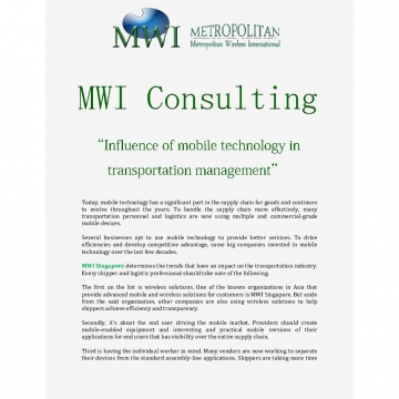 MWI: Influence of mobile technology in transportation management