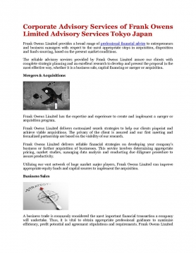Corporate Advisory Services of Frank Owens Limited Advisory Services Tokyo Japan