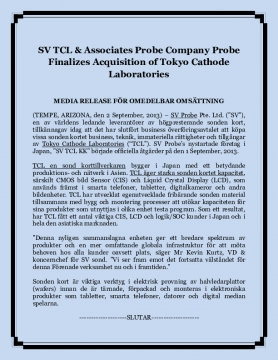 SV TCL & Associates Probe Company Probe Finalizes Acquisition of Tokyo Cathode Laboratories