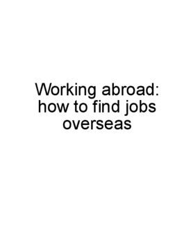 Working abroad: how to find jobs overseas