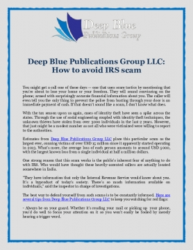 Deep Blue Publications Group LLC: How to avoid IRS scam