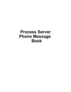 Process Server  Phone Message  Book