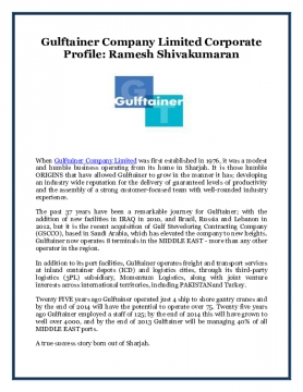 Gulftainer Company Limited Corporate Profile: Ramesh Shivakumaran