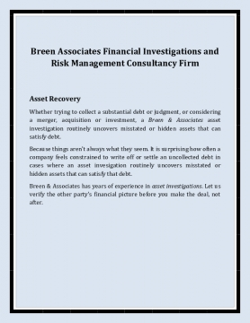 Breen Associates Financial Investigations and Risk Management Consultancy Firm