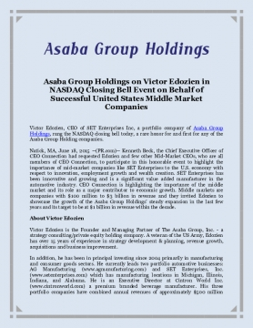 Asaba Group Holdings on Victor Edozien in NASDAQ Closing Bell Event on Behalf of Successful United States Middle Market Companies