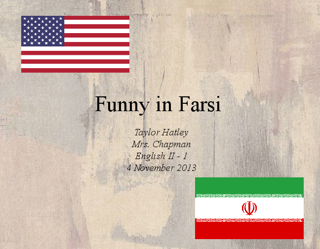 funny in farsi According to a posting on the web site of the iranian-american author firoozeh dumas, abc will be shooting a pilot for her book funny in farsi: this is the first.