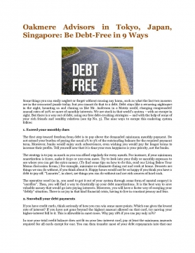 Oakmere Advisors in Tokyo, Japan, Singapore: Be Debt-Free in 9 Ways