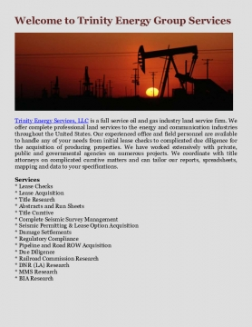 Welcome to Trinity Energy Group Services