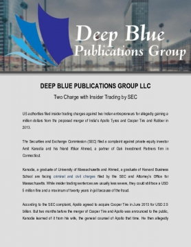 Two Charge with Insider Trading by SEC at Deep Blue Publications Group LLC