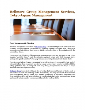 Bellmore Group Management Services, Tokyo Japan: Management