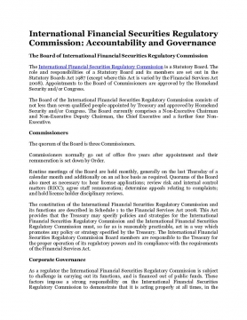International Financial Securities Regulatory Commission: Accountability and Governance