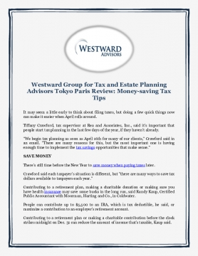 Westward Group for Tax and Estate Planning Advisors Tokyo Paris Review: Money-saving Tax Tips