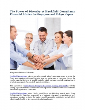 The Power of Diversity at Hawkfield Consultants Financial Advisor in Singapore and Tokyo, Japan