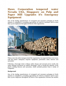 Haws Corporation tempered water Nevada USA, Singapore on Pulp and Paper Mill Upgrades it's Emergency Equipment