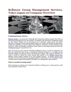 Bellmore Group Management Services, Tokyo Japan on Company Overview