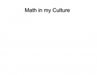 Math Is My culture