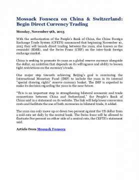 Mossack Fonseca on China & Switzerland: Begin Direct Currency Trading