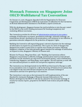 Mossack Fonseca on Singapore Joins OECD Multilateral Tax Convention