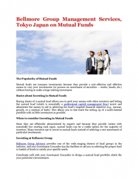 Bellmore Group Management Services, Tokyo Japan on Mutual Funds