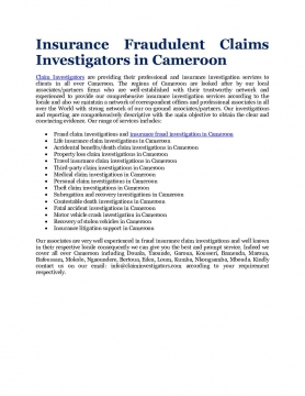 Insurance Fraudulent Claims Investigators in Cameroon