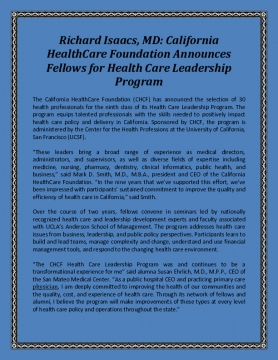 Richard Isaacs, MD: California HealthCare Foundation Announces Fellows for Health Care Leadership Program