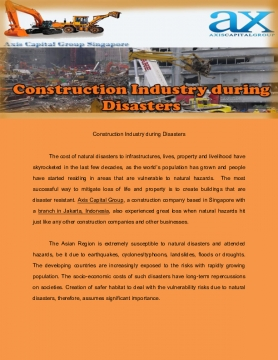 Construction Industry during Disasters