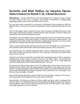 Security and Risk Online on Amazon Opens Data Centers to Boost U.K. Cloud Services
