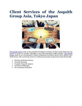 Client Services of the Asquith Group Asia, Tokyo Japan