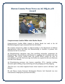Huron County Press News on AG Mfg $1.2M Award
