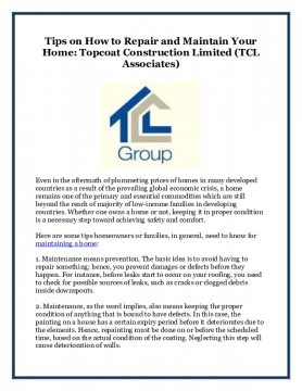 Tips on How to Repair and Maintain Your Home: Topcoat Construction Limited (TCL Associates)