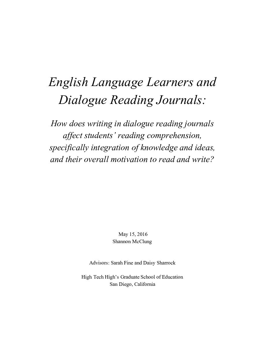 English Language Learners and Dialogue Reading Journals: