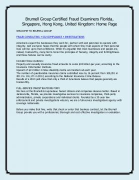 Brumell Group Certified Fraud Examiners Florida, Singapore, Hong Kong, United Kingdom: Home Page