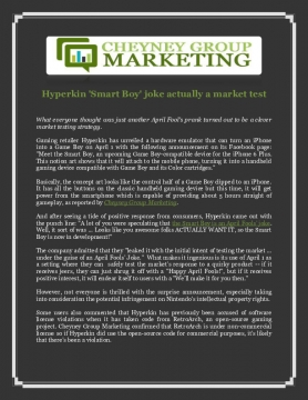 Cheyney Group Marketing: Hyperkin 'Smart Boy' joke actually a market test