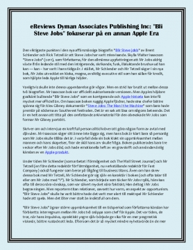 "eReviews Dyman Associates Publishing Inc: ""Bli Steve Jobs"" fokuserar på en annan Apple Era"