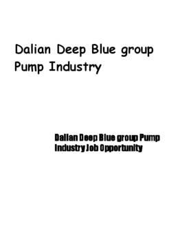 Dalian Deep Blue group Pump Industry Job Opportunity