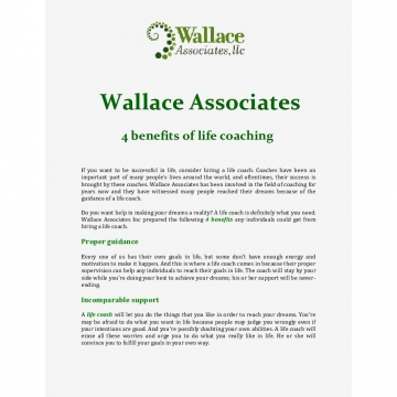Wallace Associates: 4 benefits of life coaching