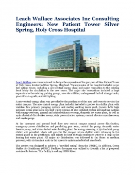 Leach Wallace Associates Inc Consulting Engineers: New Patient Tower Silver Spring, Holy Cross Hospital