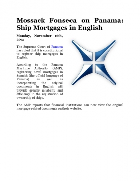 Mossack Fonseca on Panama: Ship Mortgages in English