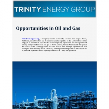 Trinity Energy Group, Inc.: Opportunities in Oil and Gas