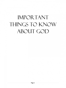 Important Things to Know about God