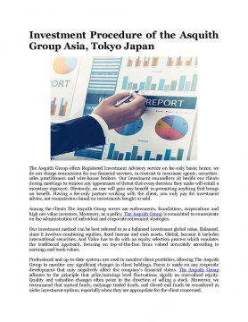 Investment Procedure of the Asquith Group Asia, Tokyo Japan