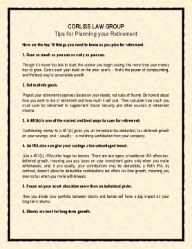 Tips for Planning your Retirement by Corliss Law Group