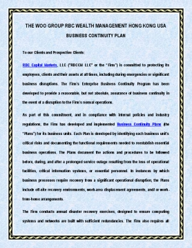 Business Continuity Plan of The Woo Group RBC Wealth Management Hong Kong USA