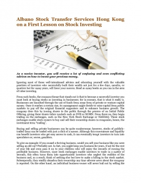 Albano Stock Transfer Services Hong Kong on a First Lesson on Stock Investing
