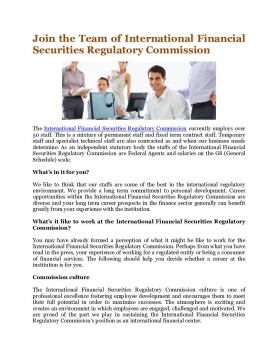 Join the Team of International Financial Securities Regulatory Commission